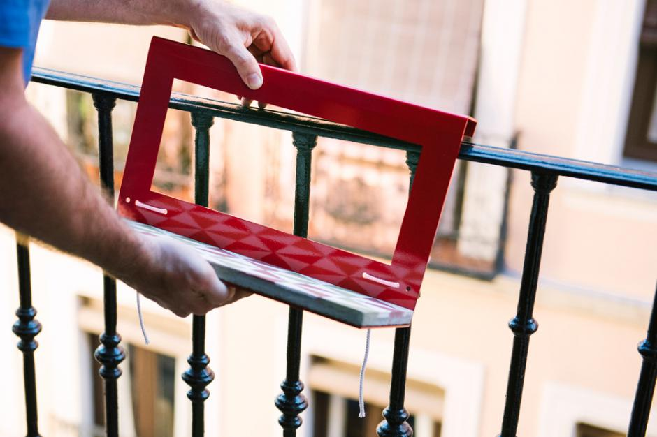 Balcony table with hydraulic tile